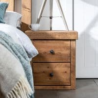 Derwent Rustic Bedside Table - 2 Drawer | Funky Chunky Furniture